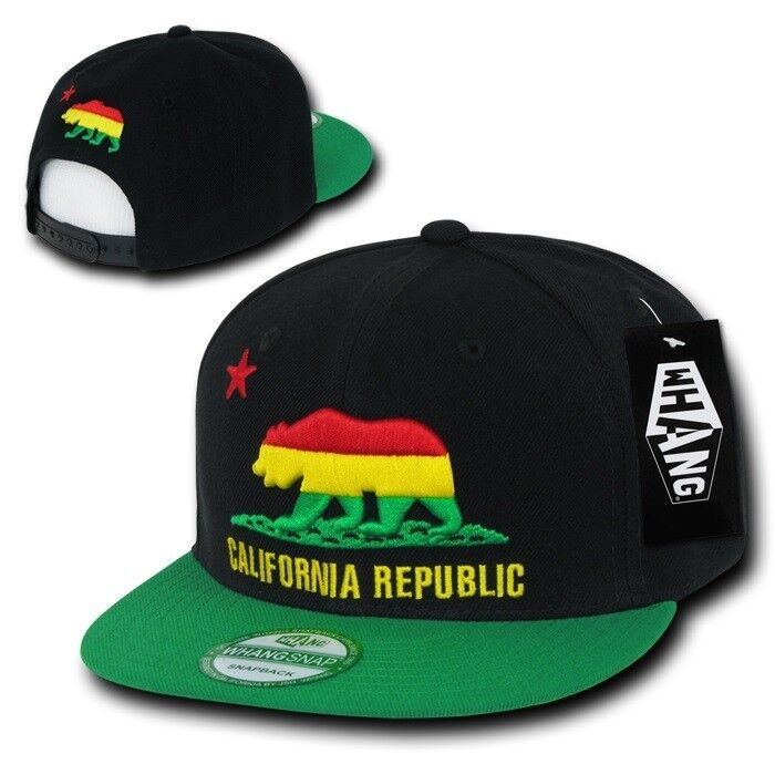Details about California Republic Red   Yellow   Green Rasta Bear Snapback  Snap Back Cap Hat 4d99c3fbed2