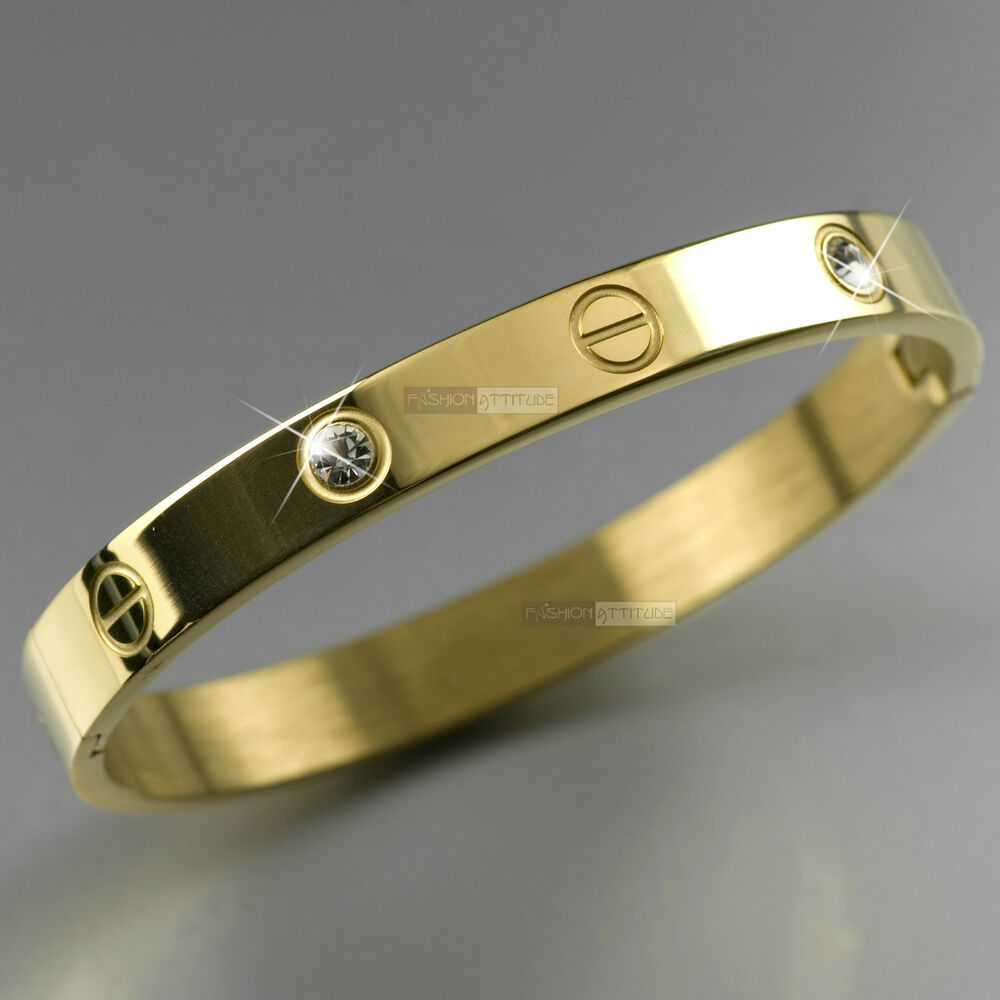 Yellow Gold Bracelet Stainless Steel Mens Womens Crystal