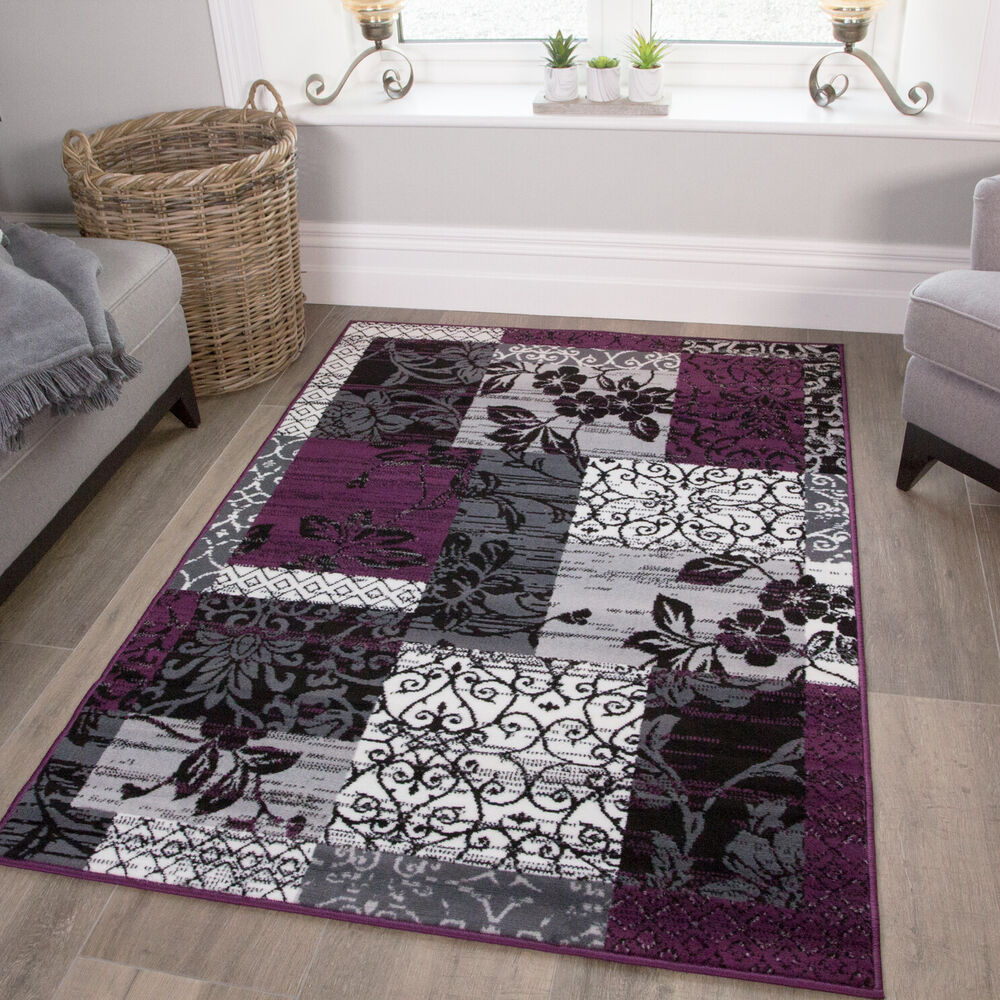 Purple Black Grey Modern Patchwork Rug Soft Milan Living