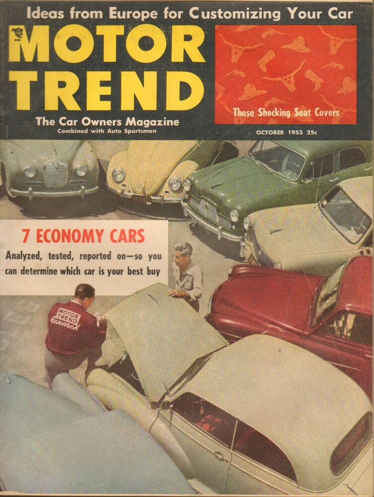 oct 1953 motor trend vintage car auto magazine seat covers economy cars ebay. Black Bedroom Furniture Sets. Home Design Ideas