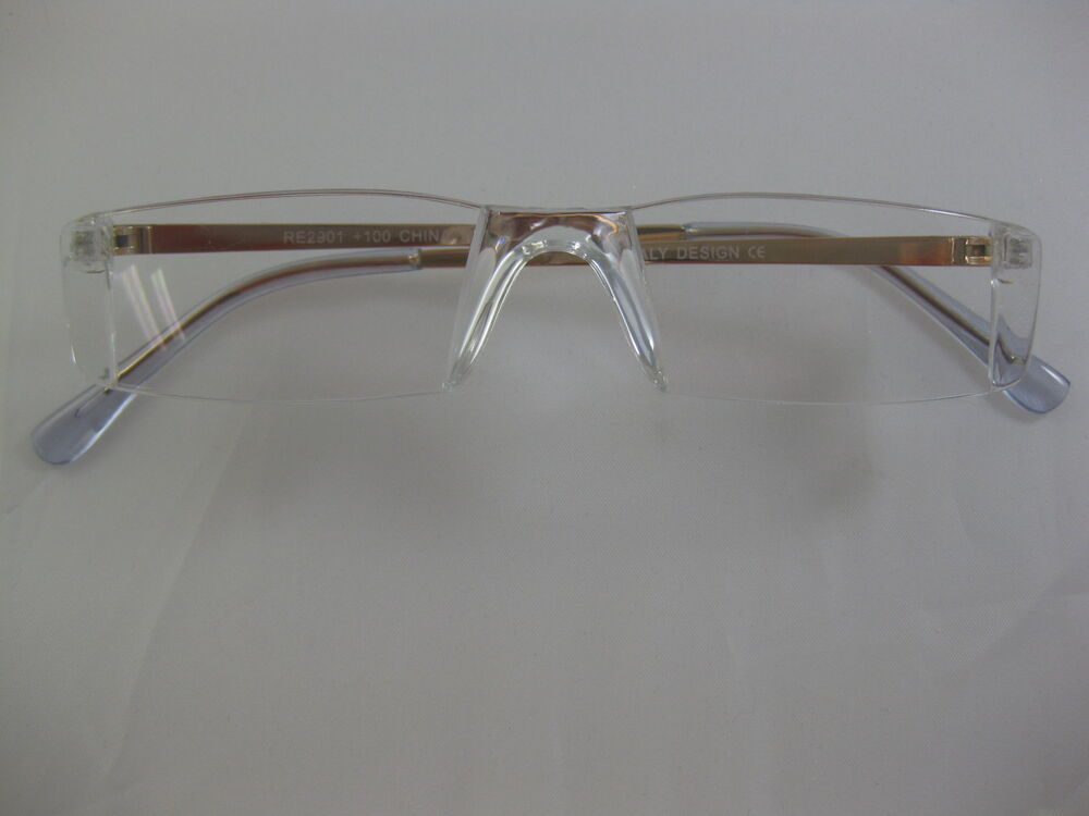 Rimless Clear Glasses : Clear Full Rimless GOLD Tone Temple Lightweight Reading ...