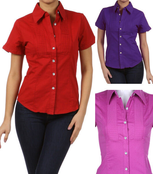 New cotton short sleeve top rhinestone button down shirt for Women s short sleeve button down cotton shirts