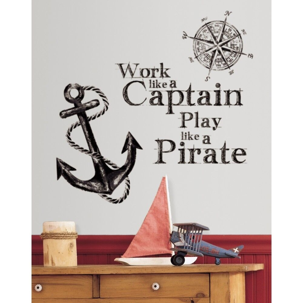 Work like a captain wall quote decals play pirate anchor for Room decor ideas quotes