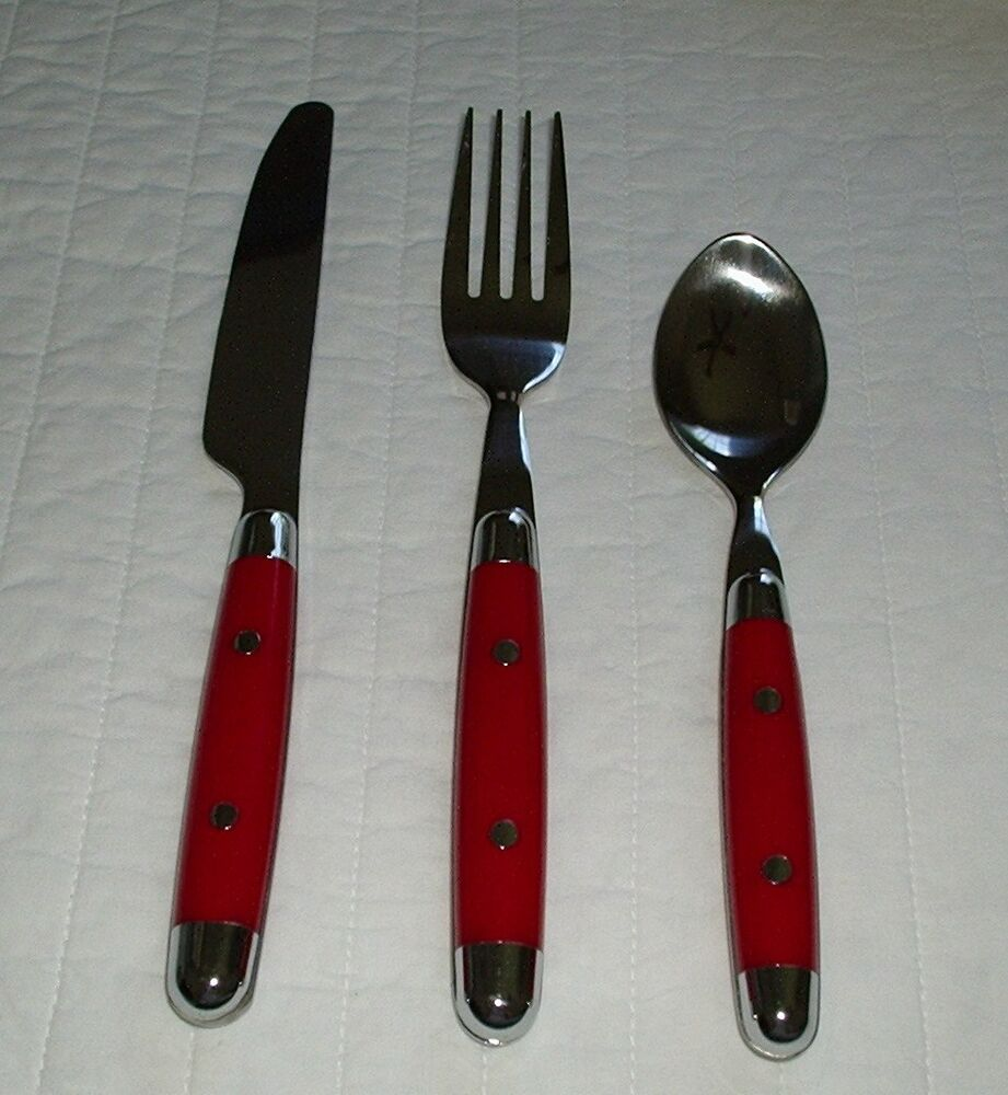 red rivited cambridge stainless steel flatware 3pc set utensils fork knife spoon ebay. Black Bedroom Furniture Sets. Home Design Ideas