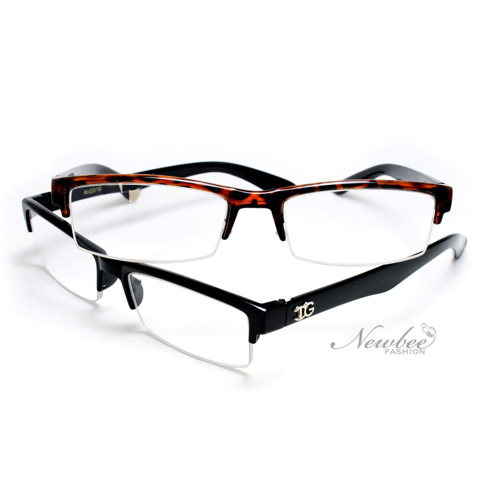 Half Frame Reading Glasses : 2 Pack Stylish and Trendy Half Frame Unisex Reading ...