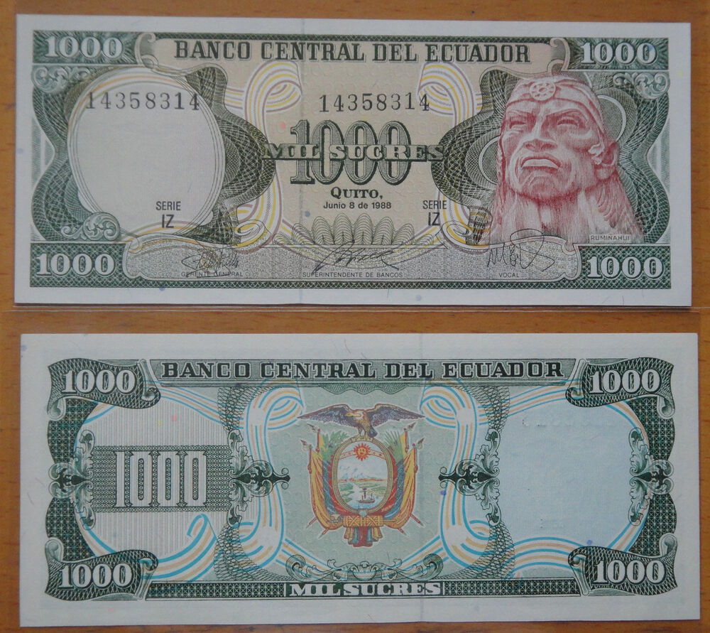 Money: Ecuador Paper Money 1000 Sucres 1988 UNC