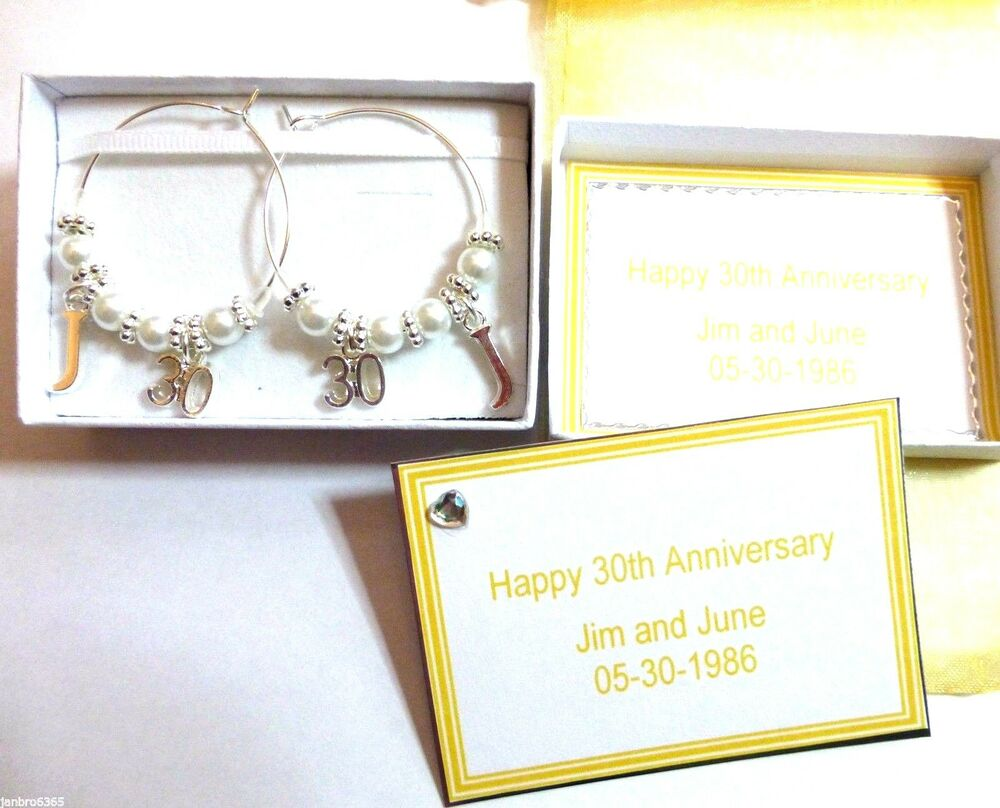 Pearl Gift Ideas For 30th Wedding Anniversary: Pearl 30th Wedding Anniversary Gift Wine Glass Charms
