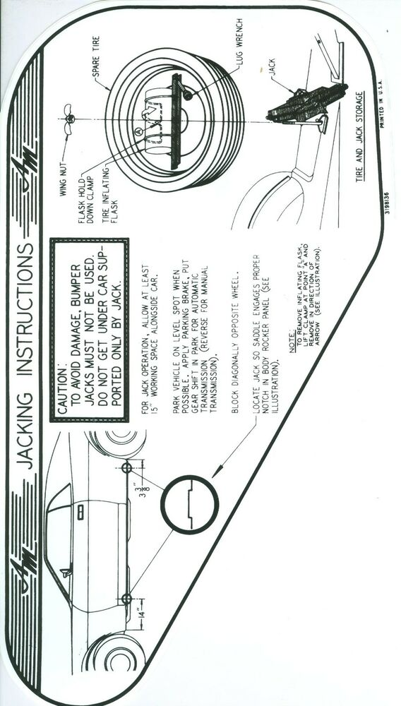 1970 amx  javelin jack instruction with space saver spare