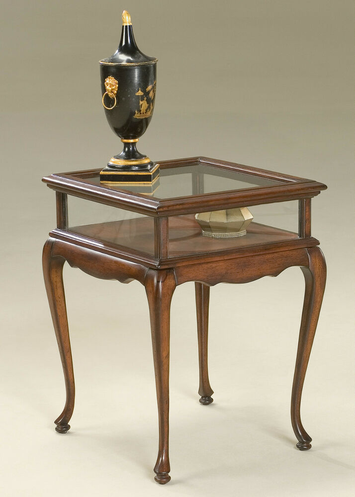 Tables chelmsford curio table cherry glass top for Display table