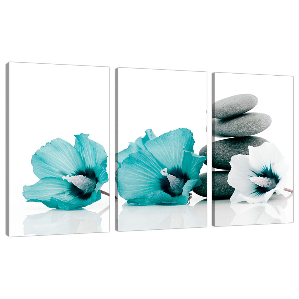 Set Of 3 Teal Floral Wall Pictures Split Canvas Art