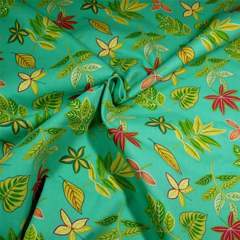 Home Decor Tropical Yellow & Red Leaves, Flowers on Mint Green Cotton ...