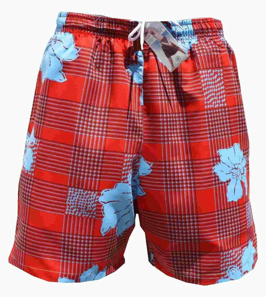 herren damen bermuda badeshorts badehose kariert blume knallrot xl ebay. Black Bedroom Furniture Sets. Home Design Ideas