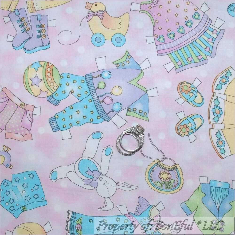 Boneful fabric fq cotton quilt vtg pink baby girl dot for Baby nursery fabric