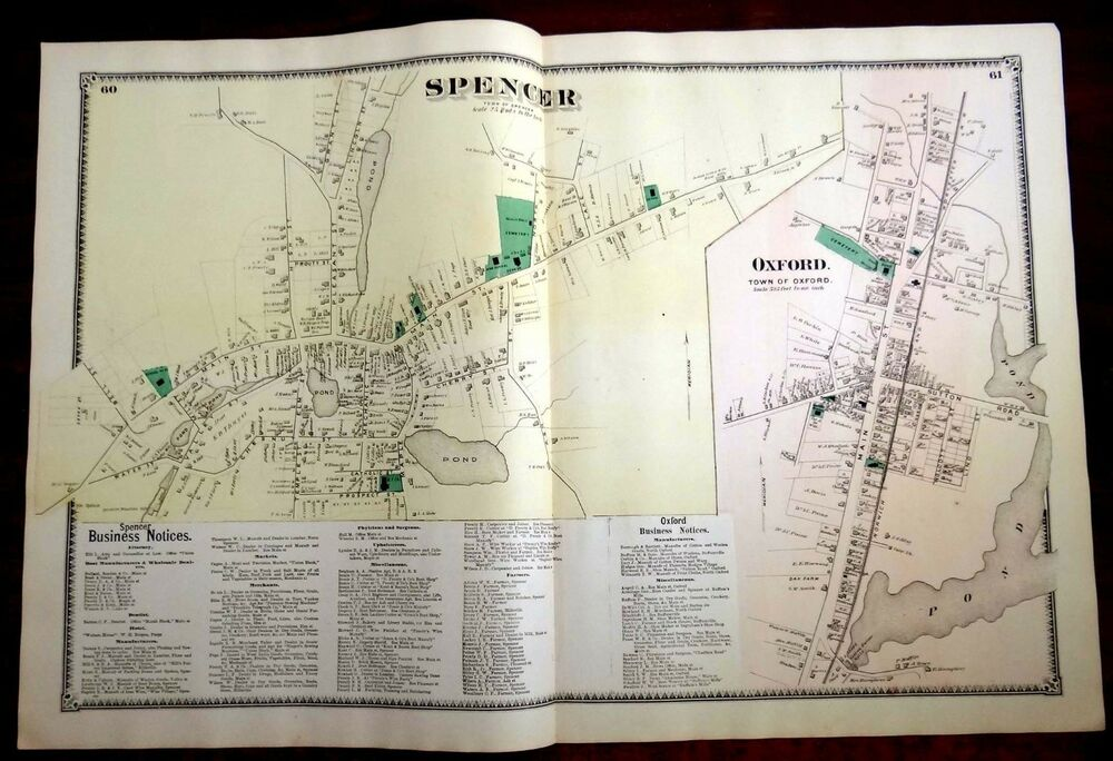 1870 map spencer oxford ma massachusetts 2 page beers. Black Bedroom Furniture Sets. Home Design Ideas