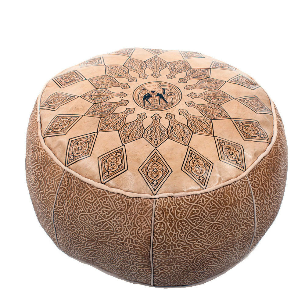 orientalisches ledersitzkissen leder poufs marokkanische kissen hocker orient na ebay. Black Bedroom Furniture Sets. Home Design Ideas