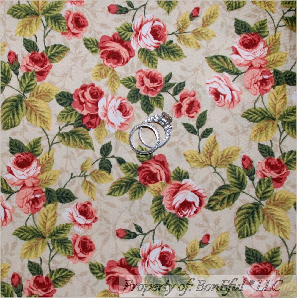 Boneful fabric fq cotton quilt pink sm victorian cottage for Victorian floral fabric