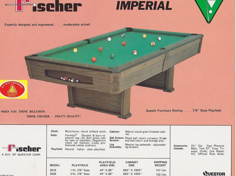 Fischer Pool Table ... AD SHEET #1821 - FISCHER BILLIARDS POOL TABLE - IMPERIAL   eBay