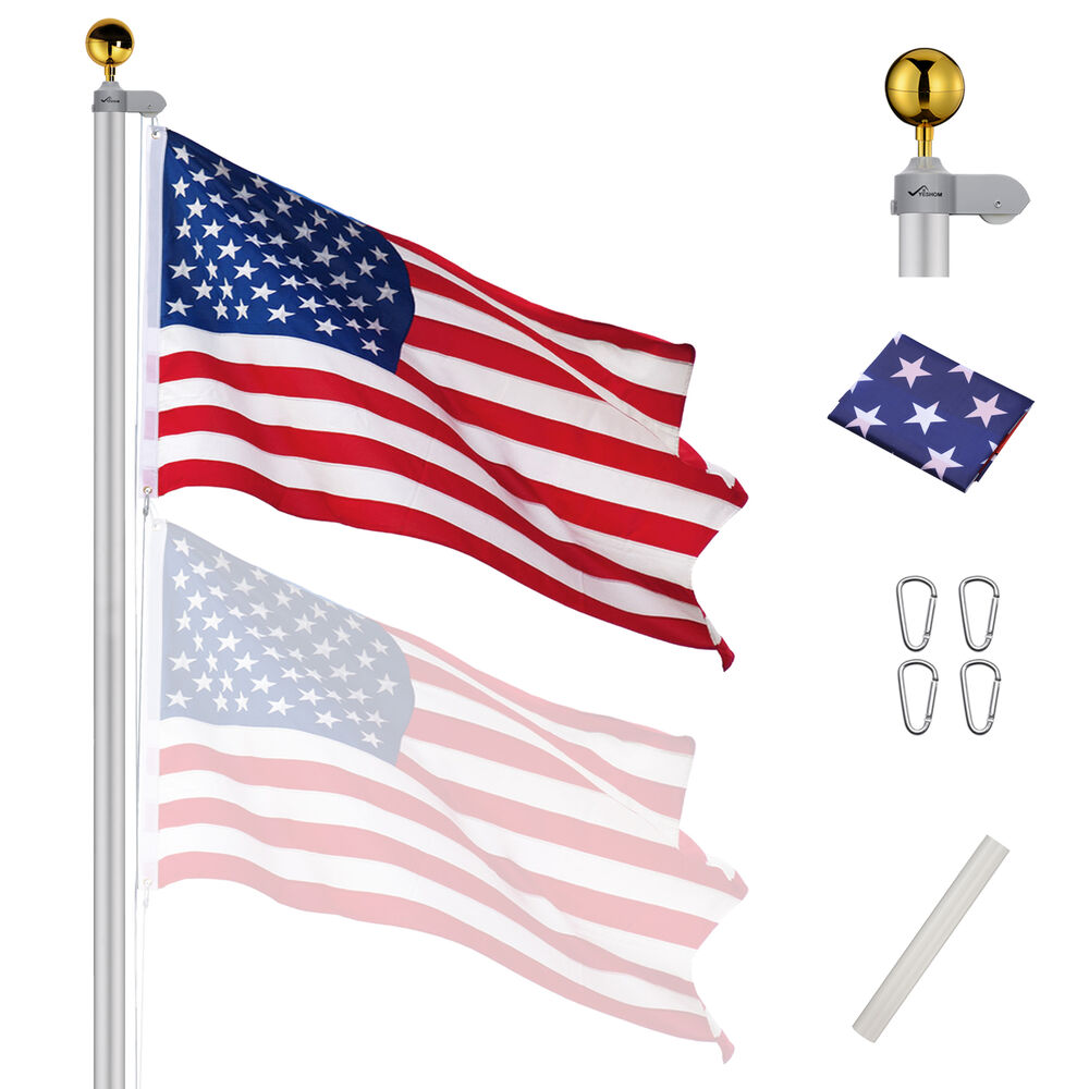 20ft Sectional Flag Pole Kit 3 39 X5 39 Us Flag Aluminum Pole