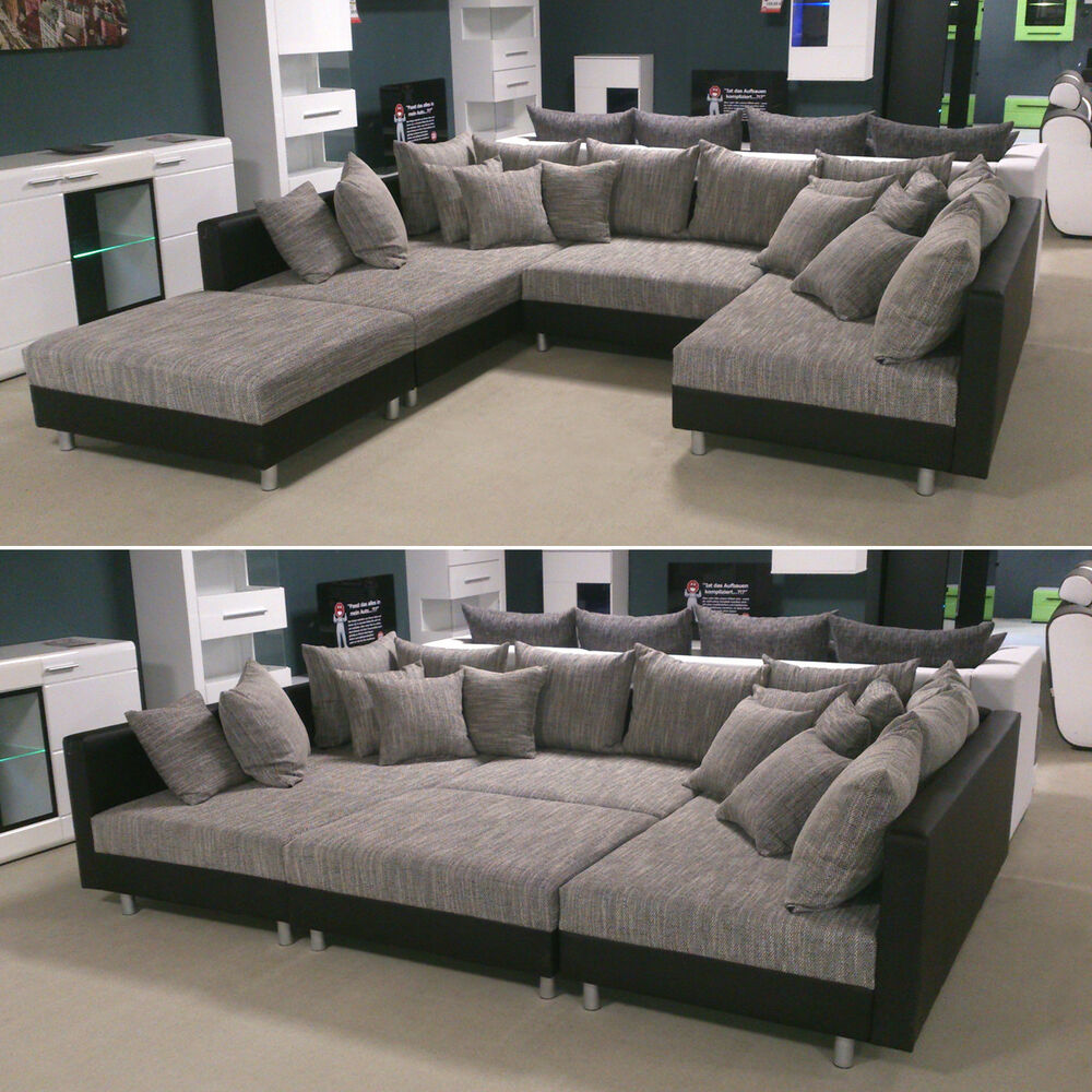 wohnlandschaft claudia xxl ecksofa couch sofa mit hocker schwarz und graubeige ebay. Black Bedroom Furniture Sets. Home Design Ideas