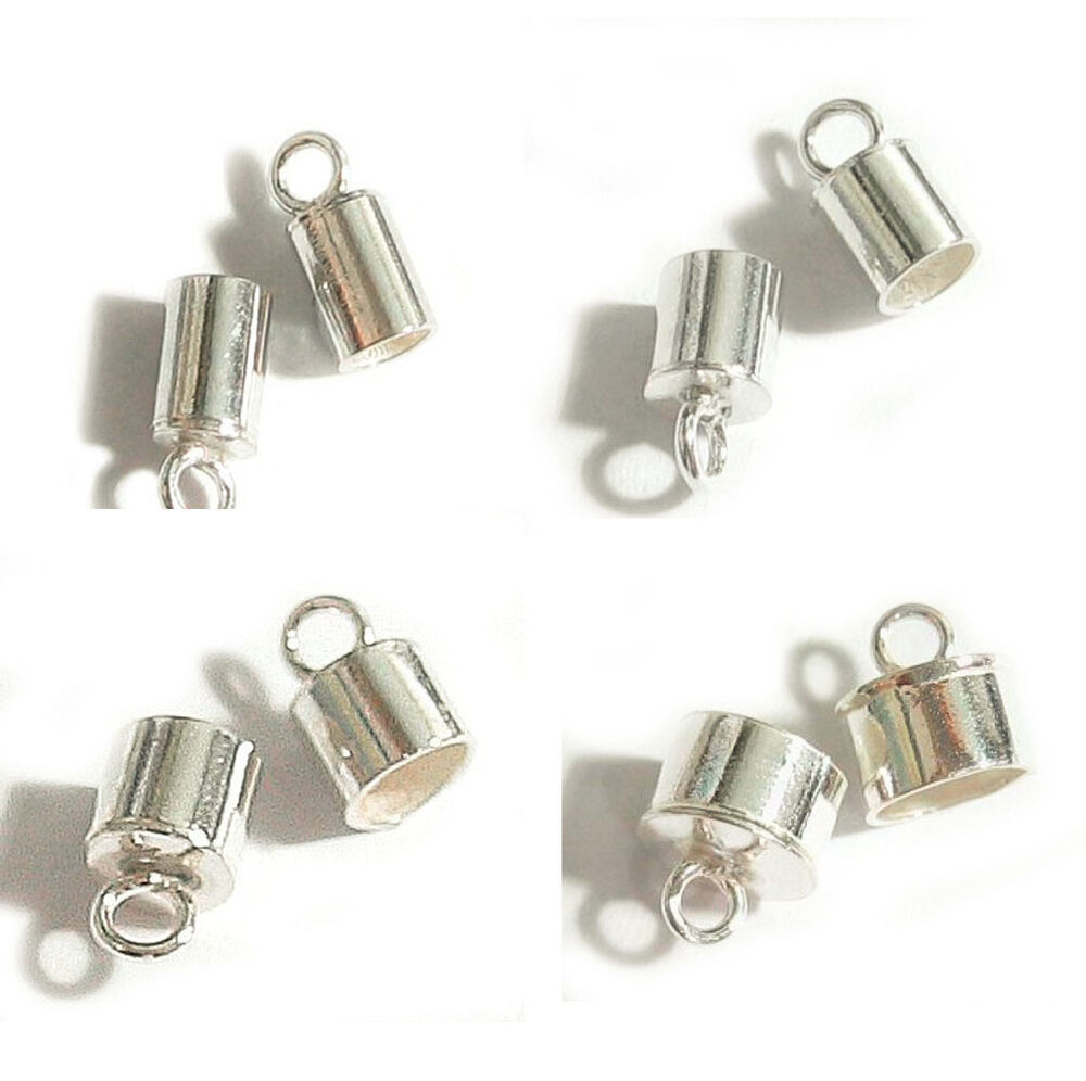 Sterling Silver Leather Cord End Cap 1mm 2mm 3mm 4mm 5mm