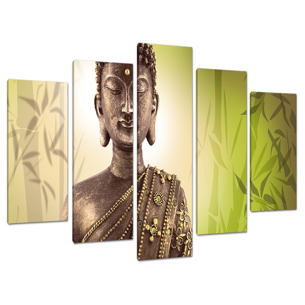 5 part buddha canvas pictures lime green wall art bedroom for Lime green wall art