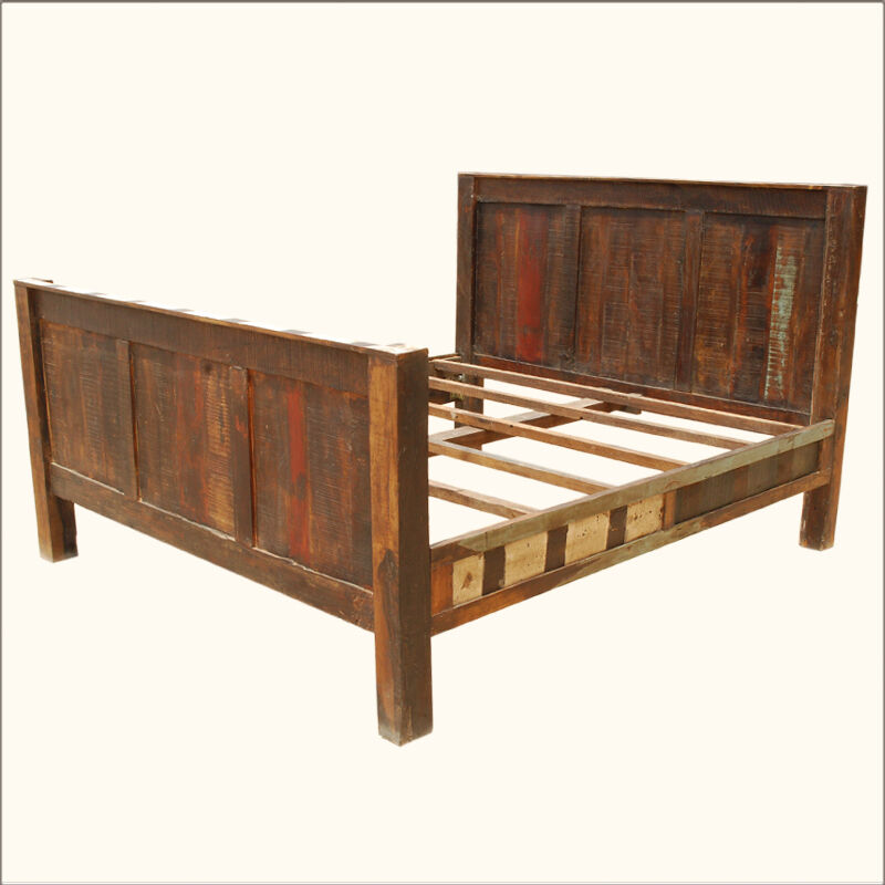 Reclaimed wood rustic distressed california king bed for California king headboard
