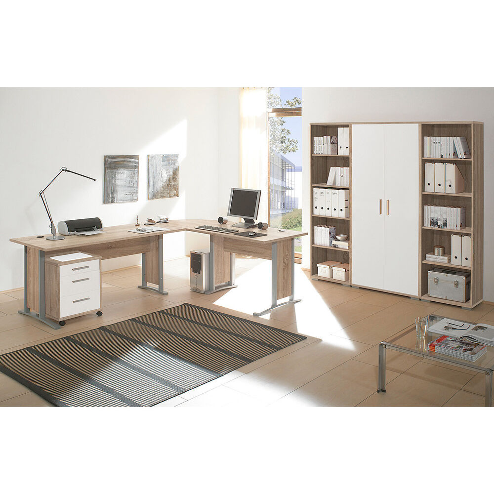 arbeitszimmer b ro office line schreibtisch regal container sonoma eiche wei ebay. Black Bedroom Furniture Sets. Home Design Ideas
