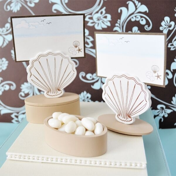 120 Wooden Shell Beach Theme Wedding Favor Boxes Place Card Holders