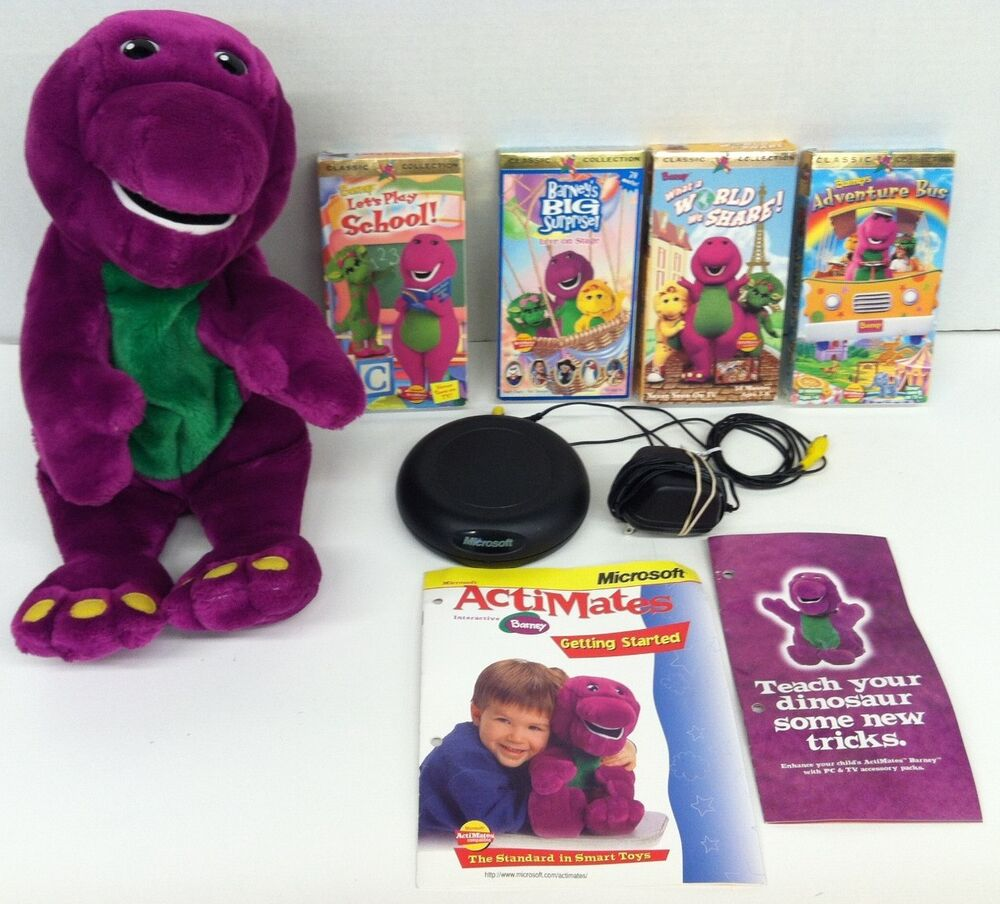1997 microsoft actimates interactive barney plush doll tv pack