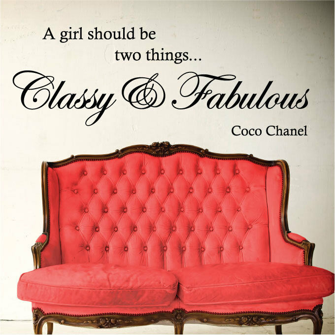 coco chanel classy and fabulous vinyl wall quote stickers