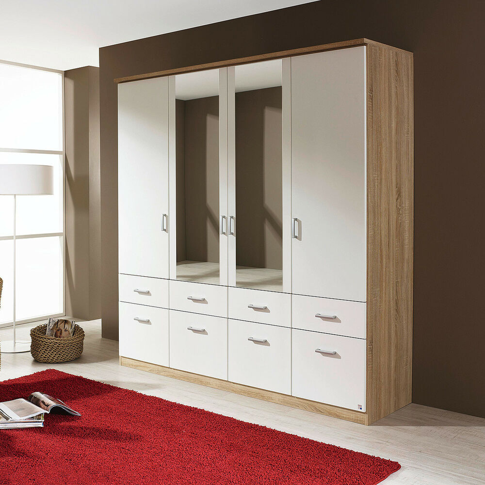 kleiderschrank bremen schrank schlafzimmerschrank sonoma eiche wei spiegel 181 ebay. Black Bedroom Furniture Sets. Home Design Ideas