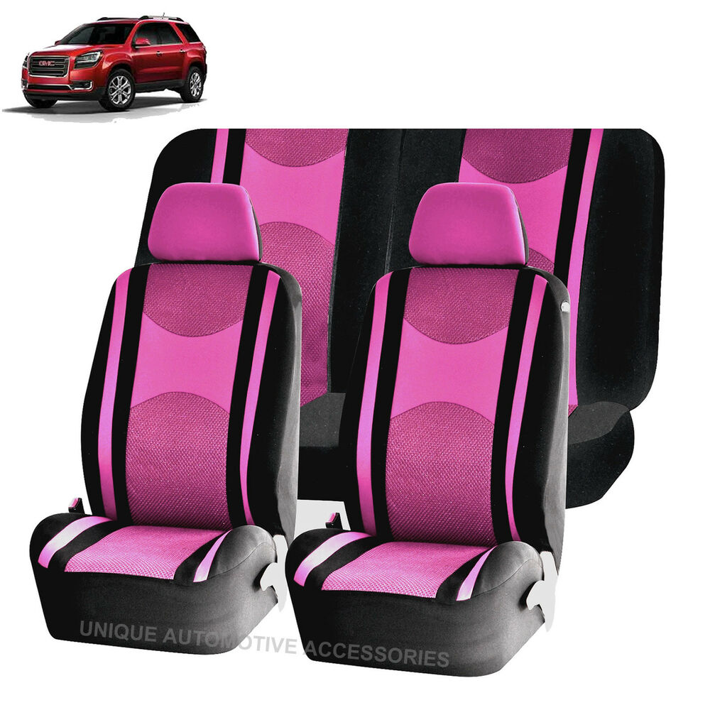 Pink Amp Bk Honeycomb Airbag Ready Split Bench Seat Covers