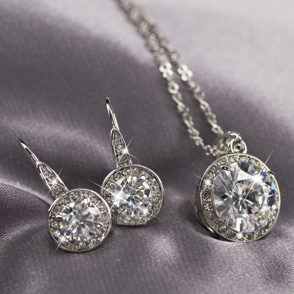 18k Gold Gp Made With Swarovski Crystal Earrings Pendant