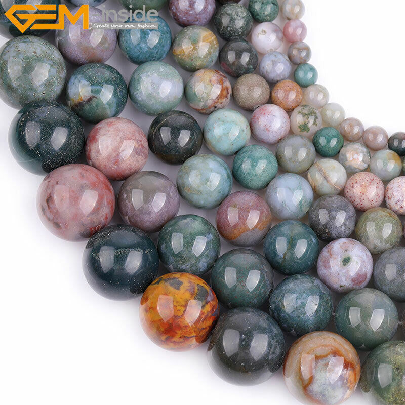 Natural Stone Beads : Natural gemstone genuine indian agate onyx stone beads for