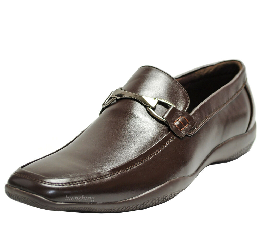 New Men 39 S Shoes Casual Fashion Slip On Style Loafers Leather Like Brown Ebay