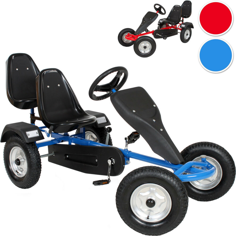 2 sitz go kart rennkart gocart kinder tretauto cart gokart kinderfahrzeug ebay. Black Bedroom Furniture Sets. Home Design Ideas