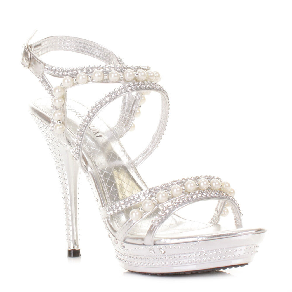 e57a6f24f6dd Details about Womens Silver Diamante Wedding Party Pearl High Heel Platform  Shoes Size 3-8
