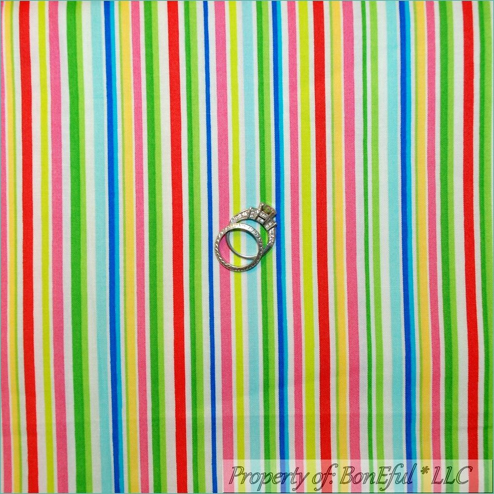 Boneful Fabric Fq Cotton Quilt Rainbow White Red Pink Blue