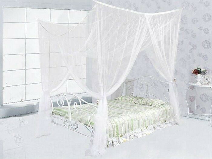 4 four corner post bed white canopy mosquito net full