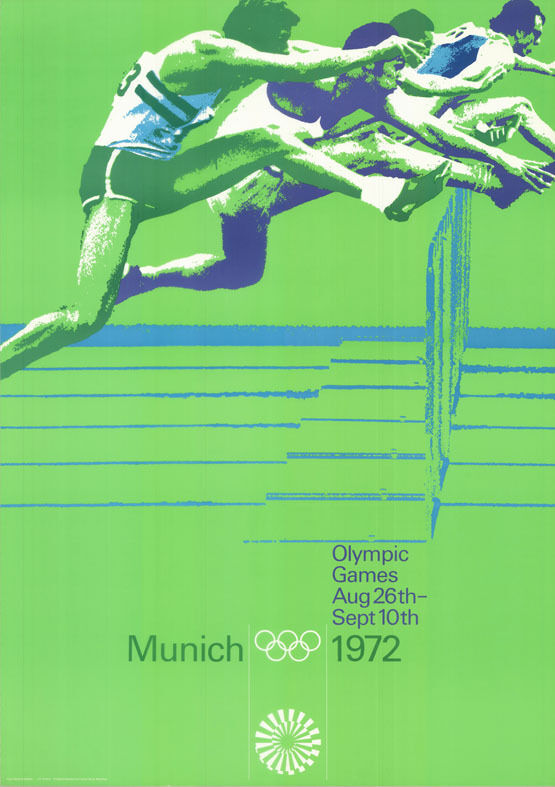 olympische spiele 1972 m nchen din a0 motiv h rdenlauf eng. Black Bedroom Furniture Sets. Home Design Ideas