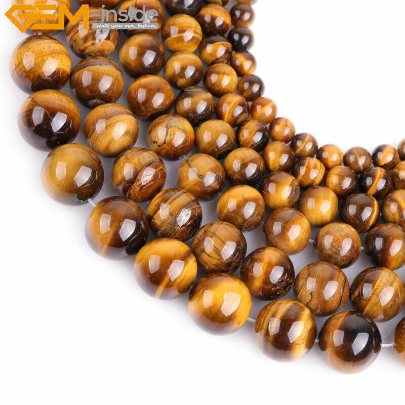 Natural gemstone brown tiger eye stone beads strand 15 for Birthstone beads for jewelry making