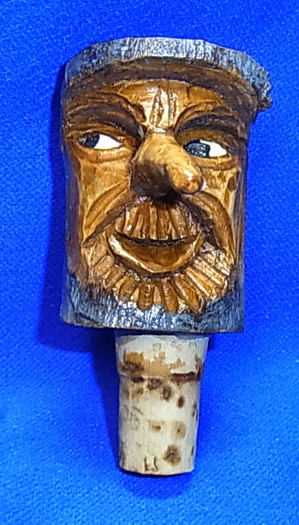 Vintage german wood carved bottle stopper spirit gnome