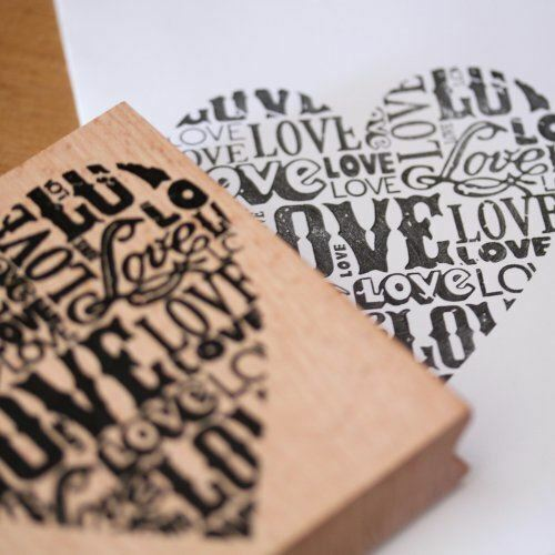 Large wooden rubber stamp heart love scrapbooking for Custom craft rubber stamps