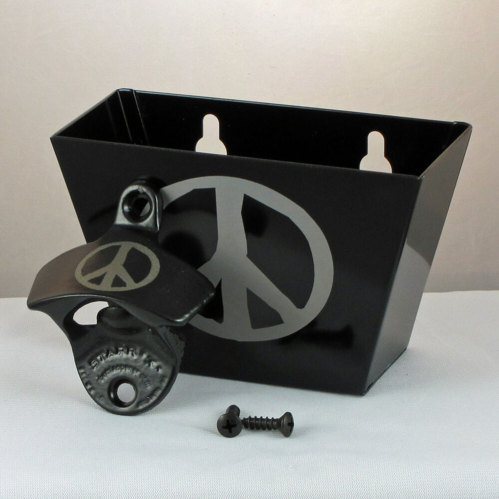Black peace sign combo starr x wall mount bottle opener with metal cap catcher ebay - Wall mounted bottle opener with cap catcher ...