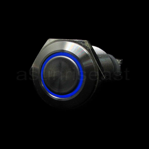 blue 16mm 12v led momentary push button panel metal switch