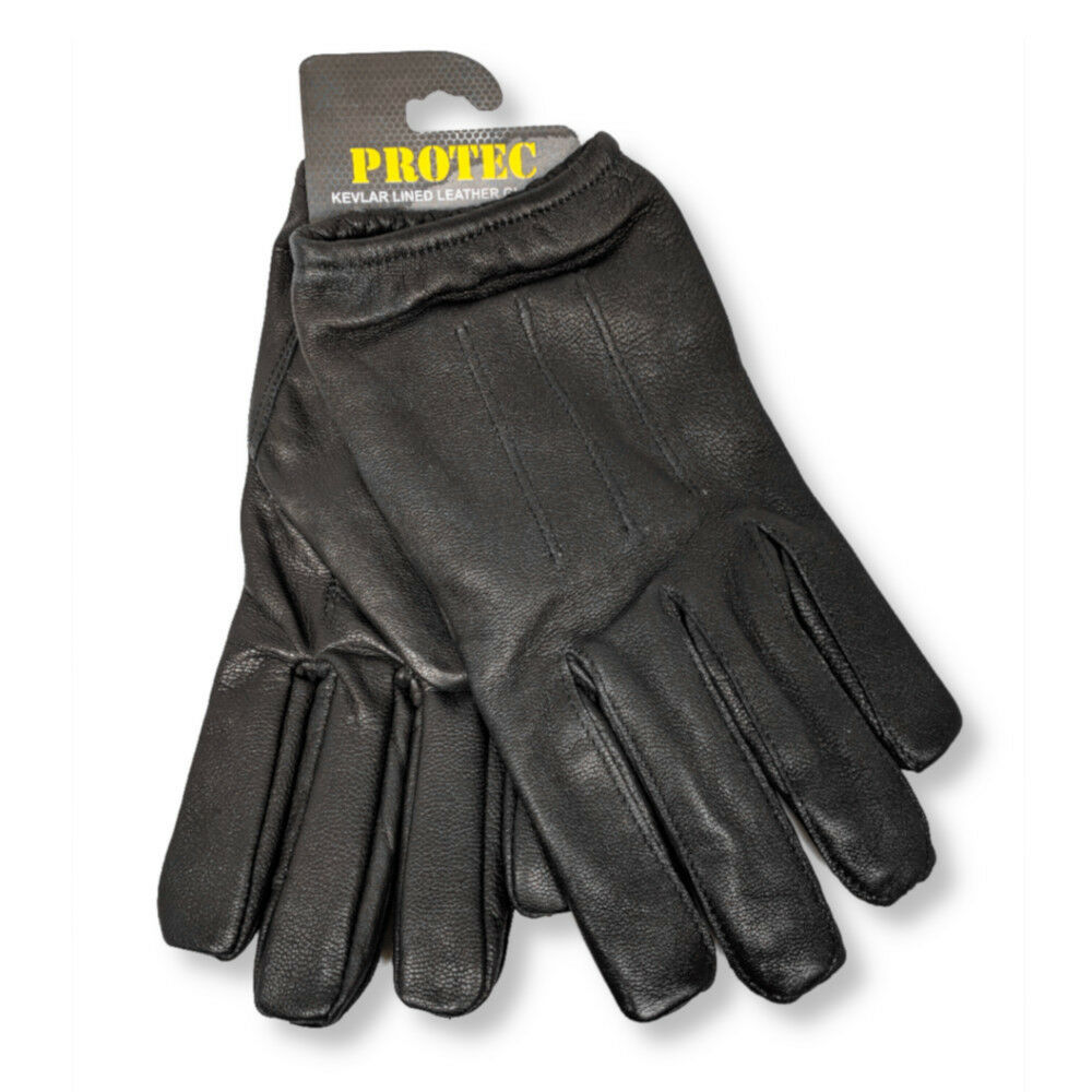 Ebay uk leather work gloves - Protec Anti Slash Fire Resistant Black Leather And Kevlar Gloves Security Sia