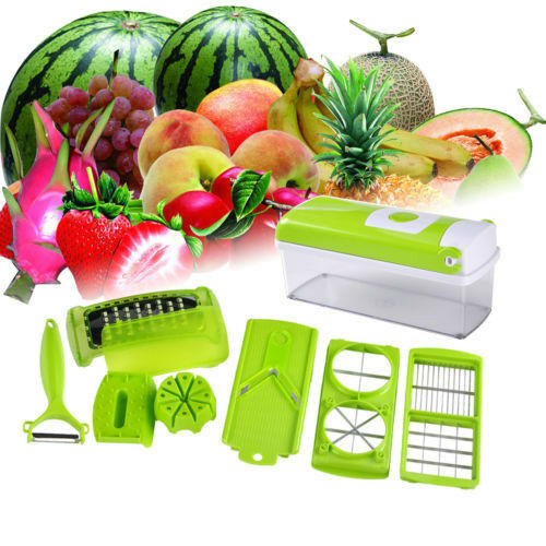 genius fruit vegetable nicer dicer plus as seen on tv multi chopper 12 pieces ebay. Black Bedroom Furniture Sets. Home Design Ideas