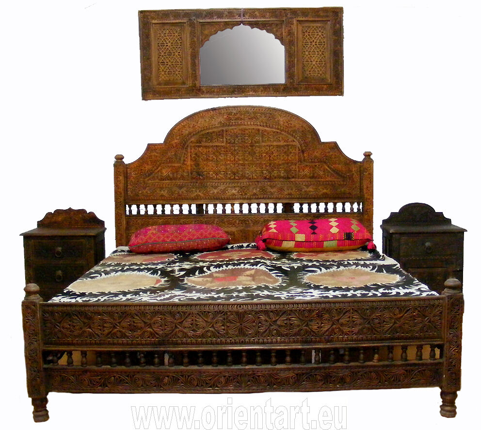 orient massiv holz bett himmelbett doppelbett afghan king. Black Bedroom Furniture Sets. Home Design Ideas