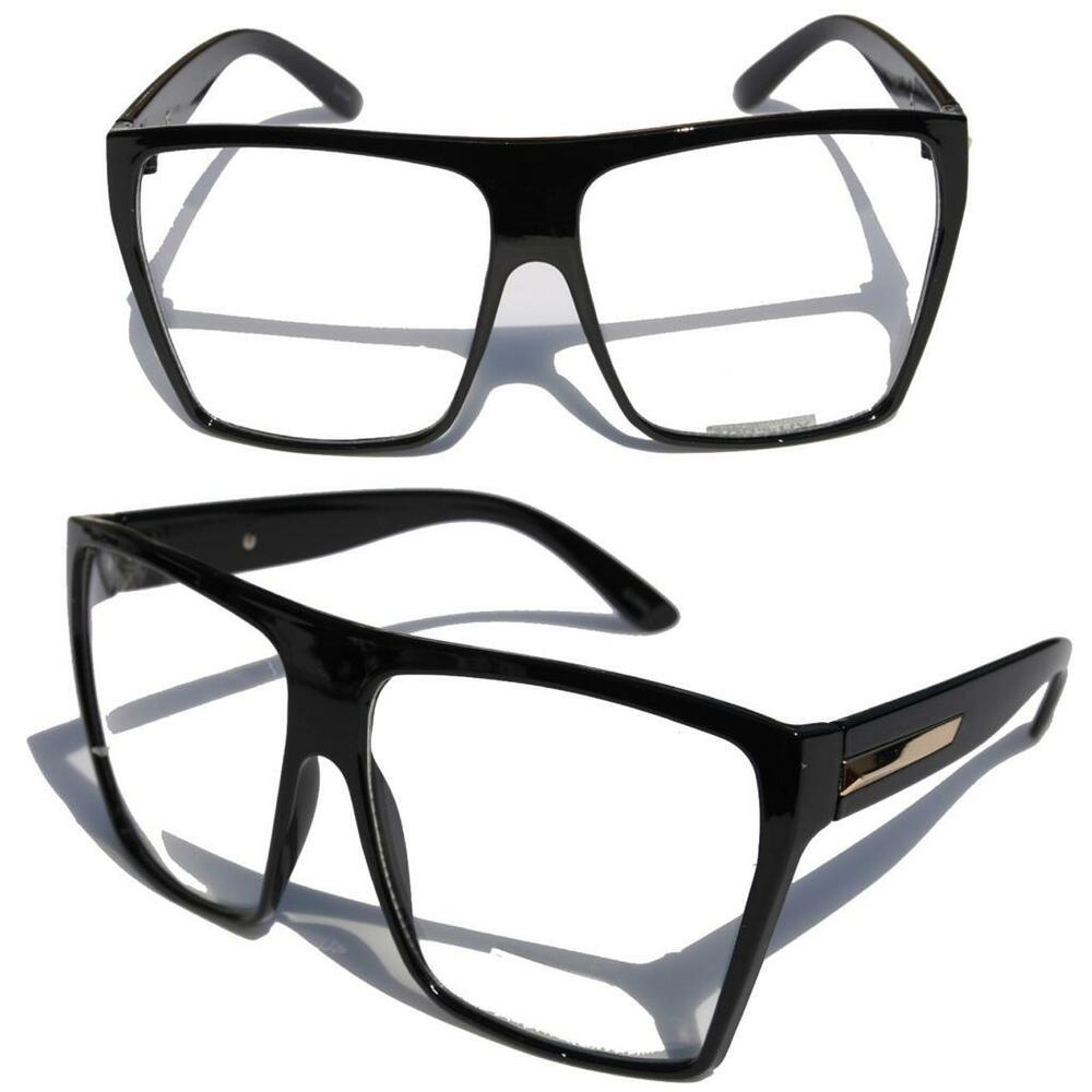 Big Oversized Gloss Black Super Nerdy Square Sun Glasses