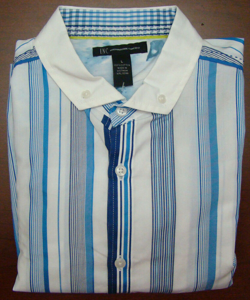 Inc blue white stripe french cuff long sleeve shirt for Blue and white long sleeve shirt